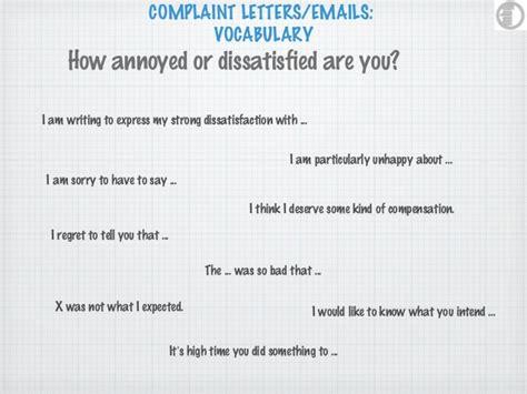 Complaint Letter Vocab Complaint Letters