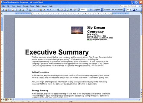 microsoft word business plan template resume business template free business plan templates for