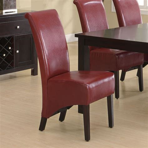 Burgundy Leather Look 40 Quot H Parson Chair Set Of 2 Burgundy Dining Chairs