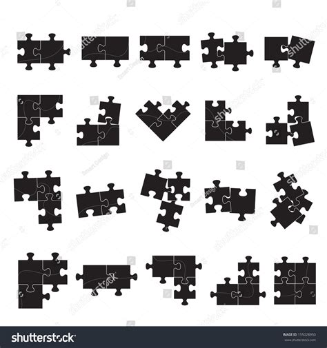 layout puzzle vector puzzle icons set isolated on white stock vector 155028950
