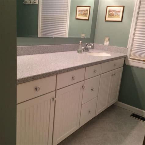 Guest Bath Vanity Corian Top Single Sink And Wainscoting Wainscoting Cabinet Doors