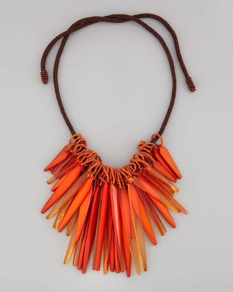 donna karan new york small cluster necklace in orange
