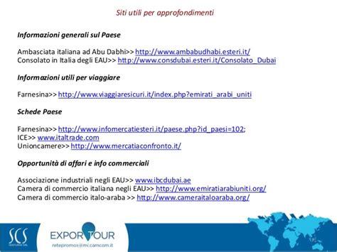 consolato emirati arabi uniti esportare negli emirati arabi uniti