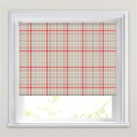 red patterned roller blinds luxury red taupe cream beige tartan patterned roller