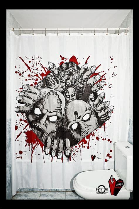 creepy shower curtain price bloody christmas original decor custom shower