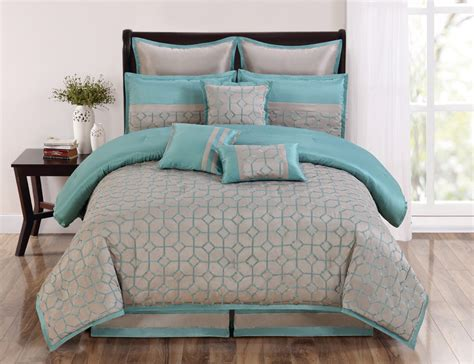 9 piece queen diamante aqua and taupe comforter set ebay