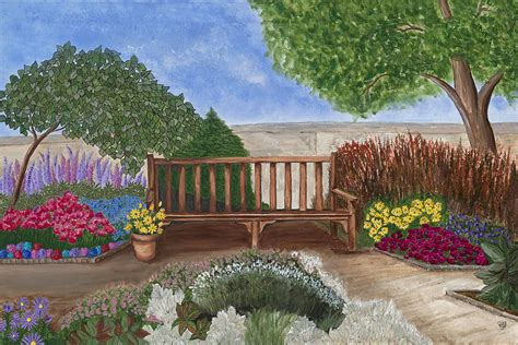 park bench painting park bench in a garden by patty vicknair