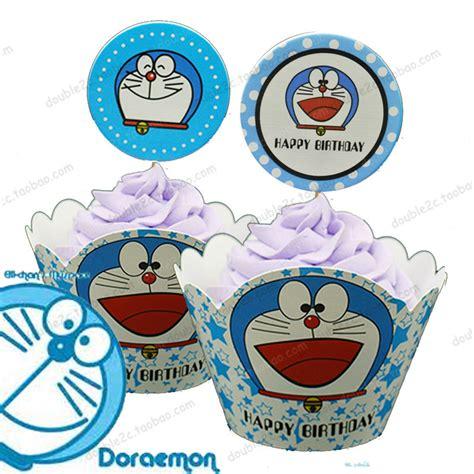 doraemon cake decorations 60 sets doraemon birthday cake muffin wrapper cupcake topper