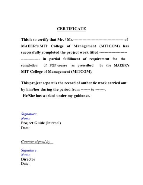 Certificate Letter For Project certificate template for project completion pertamini co