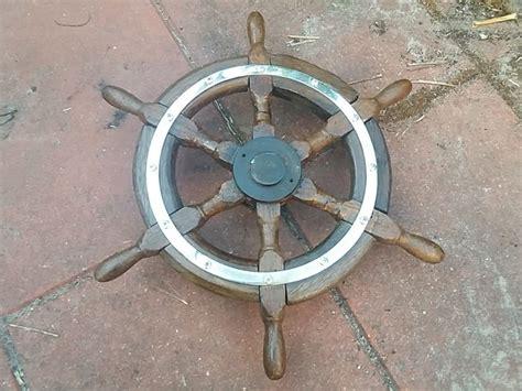 large boat steering wheel large old solid wooden steering wheel rudder of lost