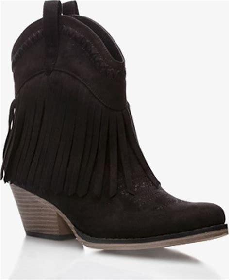 fringe boots forever 21 forever 21 fringe westernstyle booties in black lyst