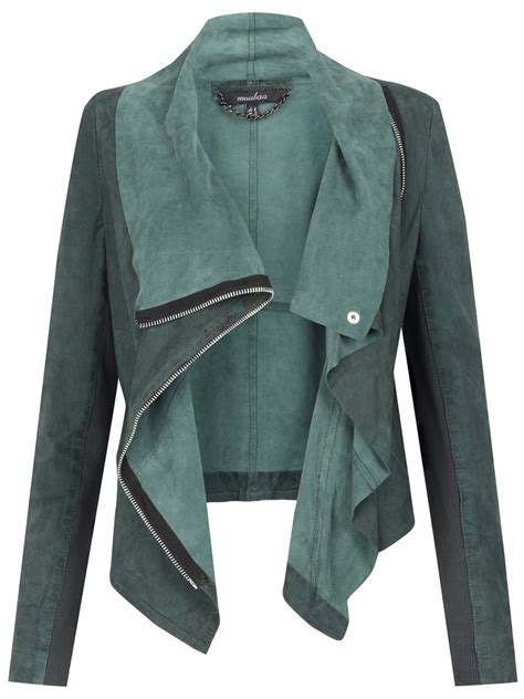 Draped Suede Jacket drape suede jacket in cyan