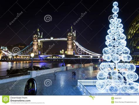 tower bridge and the river thames at christmas editorial