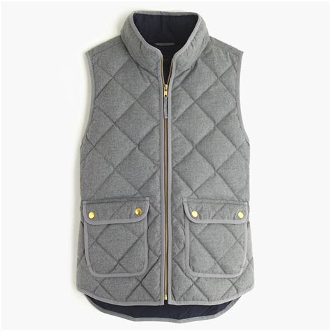 Quilted Vest by J Crew Excursion Quilted Vest In Flannel In Gray Hthr Graphite Lyst