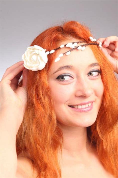hair decoration bridal diadem hair clay flowers floral wreath coronet