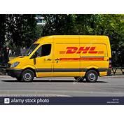DHL Parcel Delivery Van In Park Lane London Stock Photo