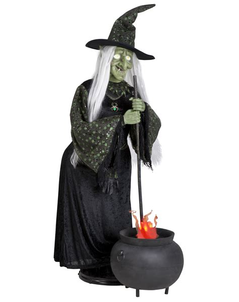 life size witch with flaming cauldron g 63044 the gemmy