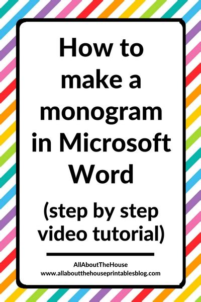 tutorial video word how to make a 1 2 or 3 letter monogram in microsoft word