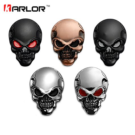 Tabung List Silver 8x5 8x5 5cm silver 3d 3m skull metal auto motorcycle sticker emblem badge car styling for ford