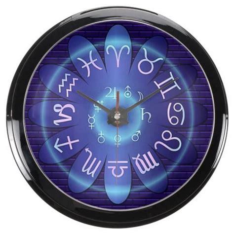 blue glow zodiac astrology symbols aqua clock wall