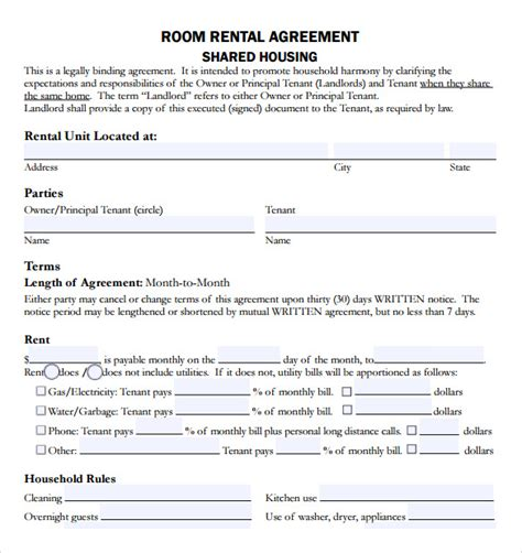 housing agreement template sle rental agreement template 8 free documents
