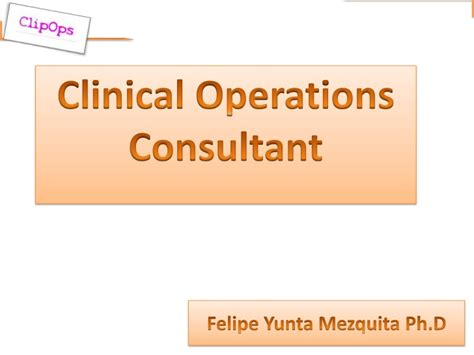 Clinical Consultant by Clinical Operations Consultant