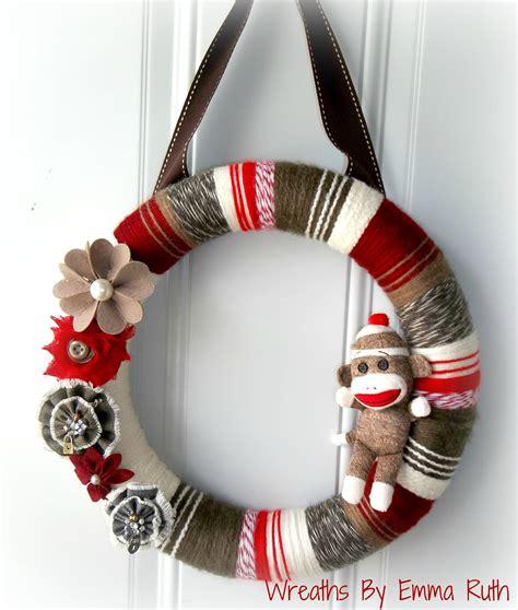 sock wreath i made a sock monkey wreath wreaths by ruth visit