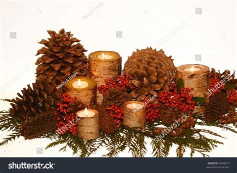 birch bark candles pine cones pyracantha stock photo