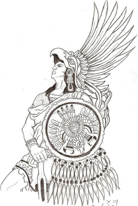 aztec pattern drawings color cuahutemoc eagle warrior by conejo213 on deviantart