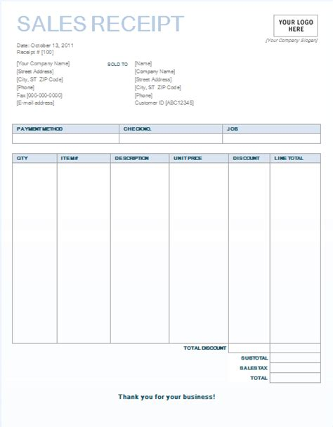 sales receipt template 8