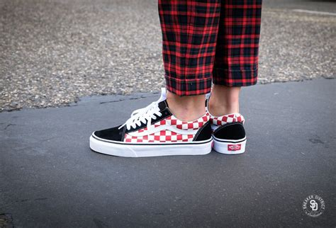 vans  skool checkerboard blackred vnoagu