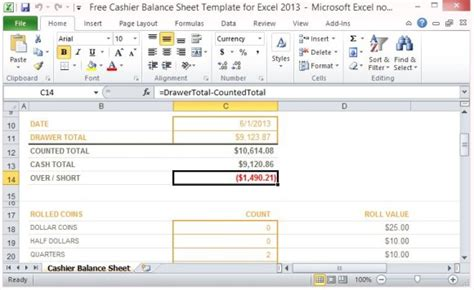 end of day register report template free cashier balance sheet template for excel 2013