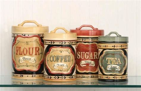 country kitchen canister set country store kitchen canister set flour sugar coffee tea ceramic new