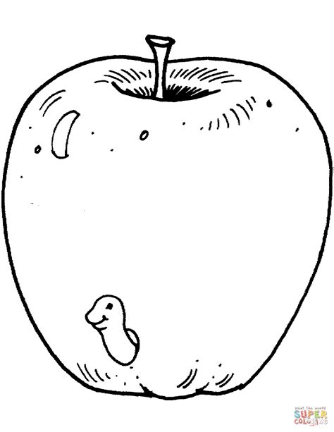 apple with worm coloring page a worm in apple coloring page free printable coloring pages