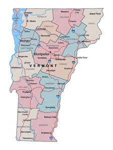 administrative map of vermont state with major cities