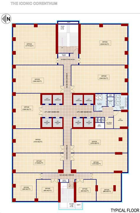 office space floor plan iconic corenthum commercial project in sec 62 noida