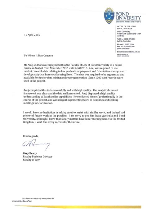 Letter Of Recommendation From College Dean Reference Letter Bond