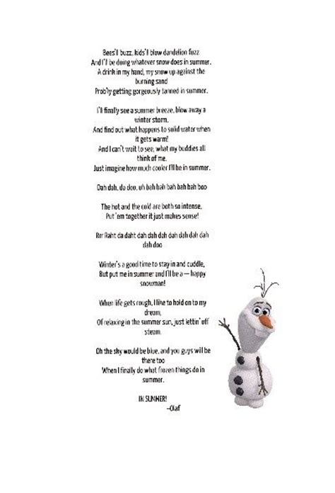 printable lyrics in summer frozen olafs summer song frozen pinterest summer frozen