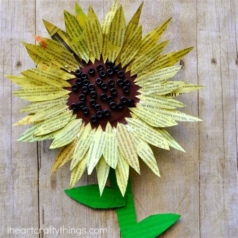 Sunflower Paper Craft - painted newspaper sunflower craft i crafty things