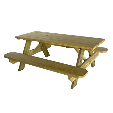 bench picnic table shop 72 in brown southern yellow pine rectangle picnic table at lowes com