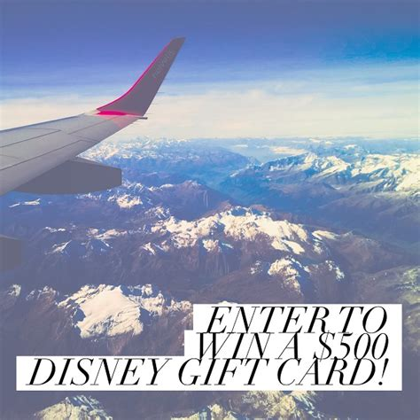 Disney Gift Card Giveaway - 500 disney gift card giveaway redeemable at any park or store