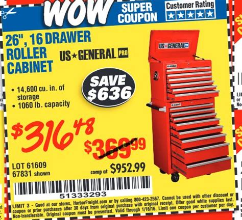 cabinets com coupon code harbor freight coupon 26 quot 16 roller cabinet lot no