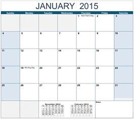 calendar template horizontal 2015 monthly calendar template for numbers