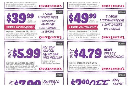 coupons for free tokens at chuck e cheese