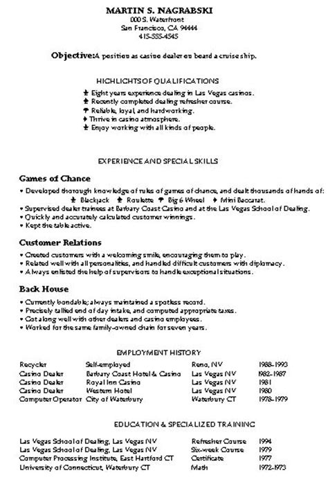 Resume Sles Mixed Bag Damn Good Resume Guide Casino Resume Template