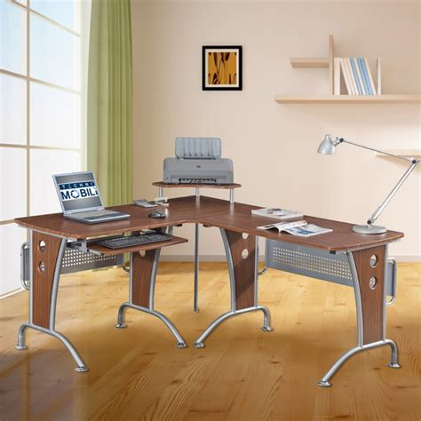 minimalist l shaped desk l shaped wood office desk with laptop and printer