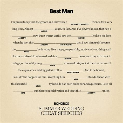 Easy Best Man Speeches How To Write A Funny Best Man Speech Best Speech Template