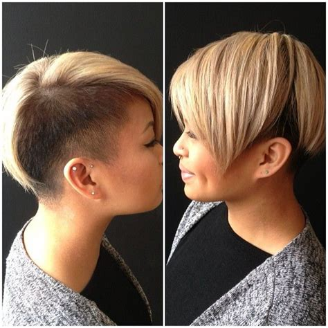 wedge one side longer hair women s haircut blonde short hairstyle with black shaved