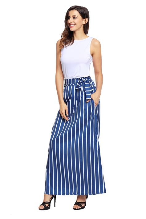 Striped Maxi cheap blue striped maxi skirt from china