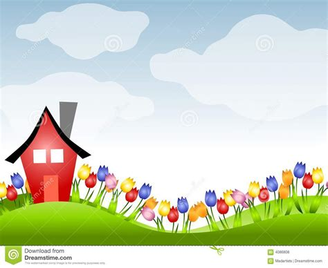 red house  row  tulips  spring stock illustration